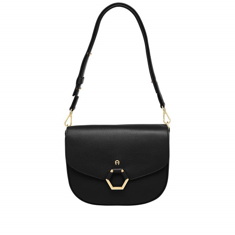 Tasche Elba 132-146, Farbe: schwarz, taupe/khaki, beige, Marke: AIGNER, Abmessungen in cm: 26.5x21.5x9.0, Bild 1 von 1