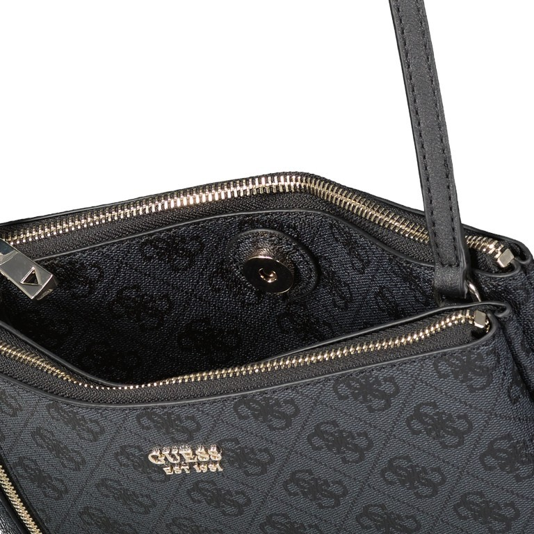 Umhängetasche Naja, Farbe: schwarz, braun, Marke: Guess, Abmessungen in cm: 26.0x17.0x4.0, Bild 6 von 7