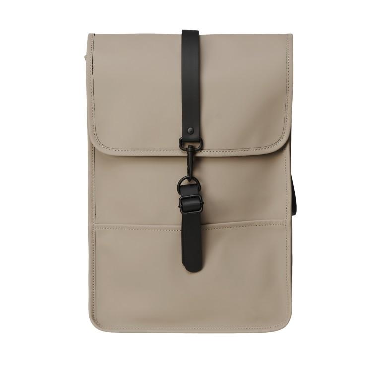 Rucksack Backpack Mini, Farbe: schwarz, anthrazit, grau, blau/petrol, taupe/khaki, grün/oliv, rosa/pink, gelb, beige, weiß, Marke: Rains, Abmessungen in cm: 27.0x39.0x8.0, Bild 1 von 5