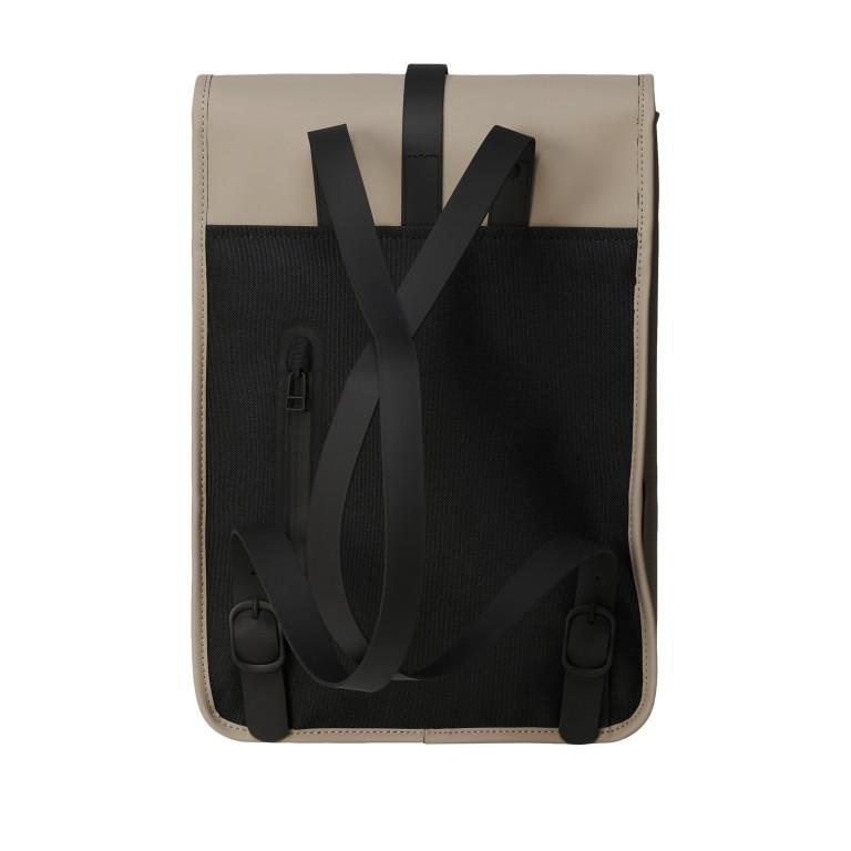 Rucksack Backpack Mini, Farbe: schwarz, anthrazit, grau, blau/petrol, taupe/khaki, grün/oliv, rosa/pink, gelb, beige, weiß, Marke: Rains, Abmessungen in cm: 27.0x39.0x8.0, Bild 2 von 5