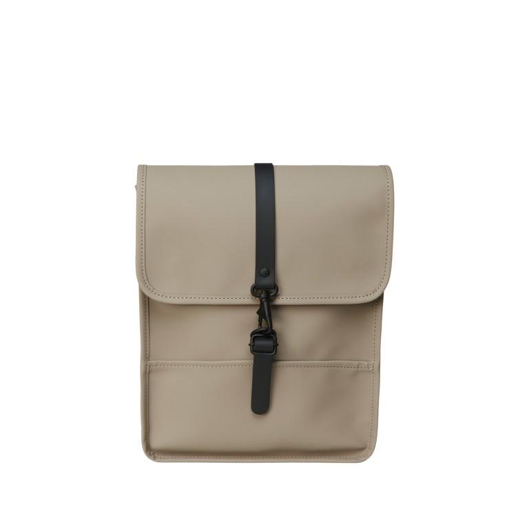 Rucksack Backpack Micro, Farbe: schwarz, blau/petrol, taupe/khaki, beige, Marke: Rains, Abmessungen in cm: 27.0x33.0x7.0, Bild 1 von 5