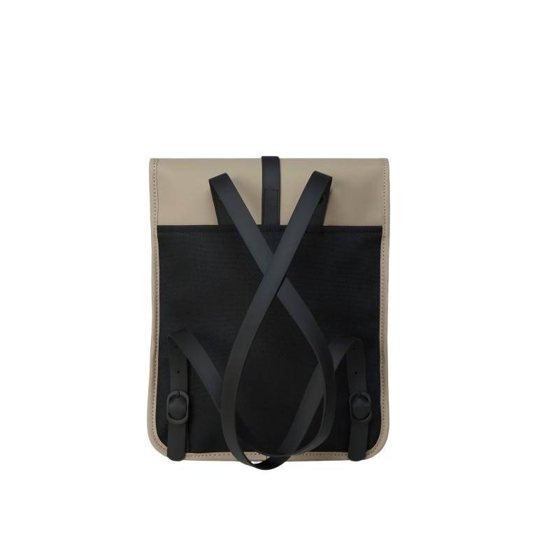 Rucksack Backpack Micro, Farbe: schwarz, blau/petrol, taupe/khaki, beige, Marke: Rains, Abmessungen in cm: 27.0x33.0x7.0, Bild 2 von 5