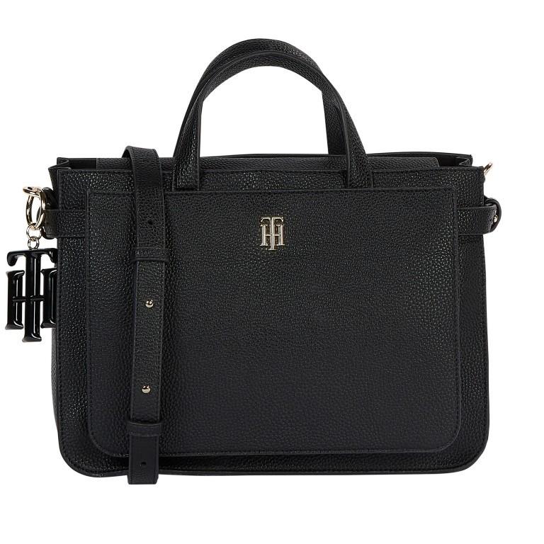 Handtasche Soft Satchel, Farbe: schwarz, weiß, Marke: Tommy Hilfiger, Abmessungen in cm: 32.0x23.0x13.0, Bild 1 von 2