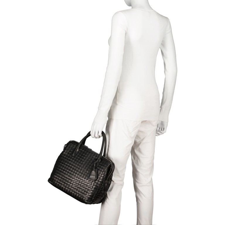 Handtasche Gunda Small, Farbe: schwarz, cognac, taupe/khaki, Marke: Abro, Abmessungen in cm: 27.0x25.0x14.0, Bild 4 von 9