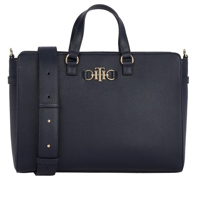 Handtasche Club Tote, Farbe: schwarz, blau/petrol, Marke: Tommy Hilfiger, Abmessungen in cm: 35.0x25.0x12.5, Bild 1 von 3