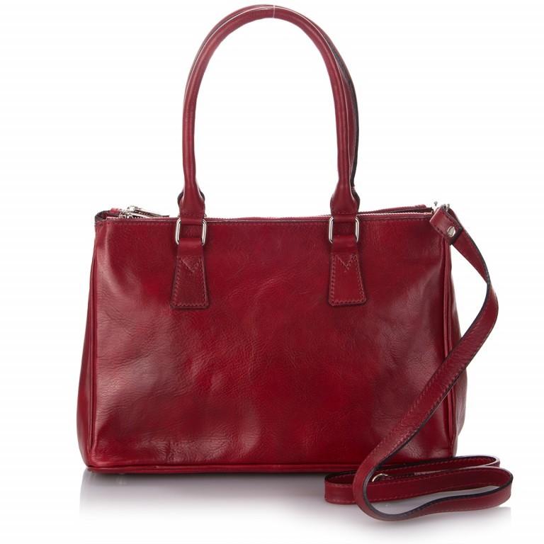 Shopper Toscana, Farbe: blau/petrol, braun, cognac, rot/weinrot, Marke: Hausfelder, Abmessungen in cm: 37.0x25.0x16.0, Bild 1 von 1