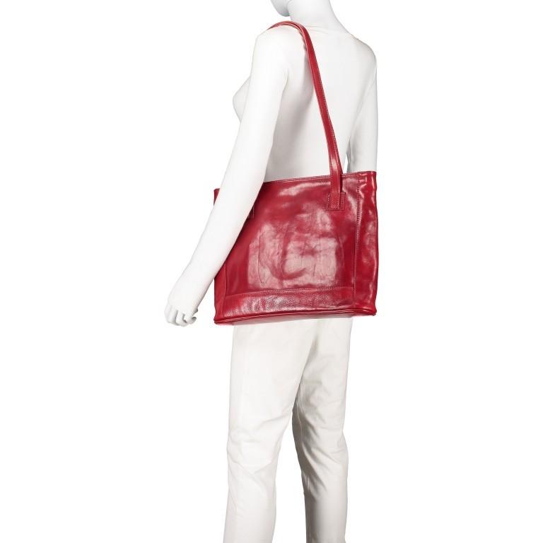 Shopper Toscana, Farbe: blau/petrol, braun, cognac, rot/weinrot, Marke: Hausfelder, Bild 4 von 6