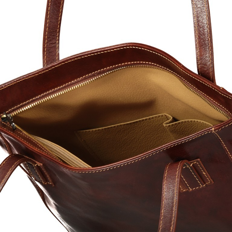 Shopper Toscana, Farbe: blau/petrol, braun, cognac, rot/weinrot, Marke: Hausfelder, Bild 6 von 6