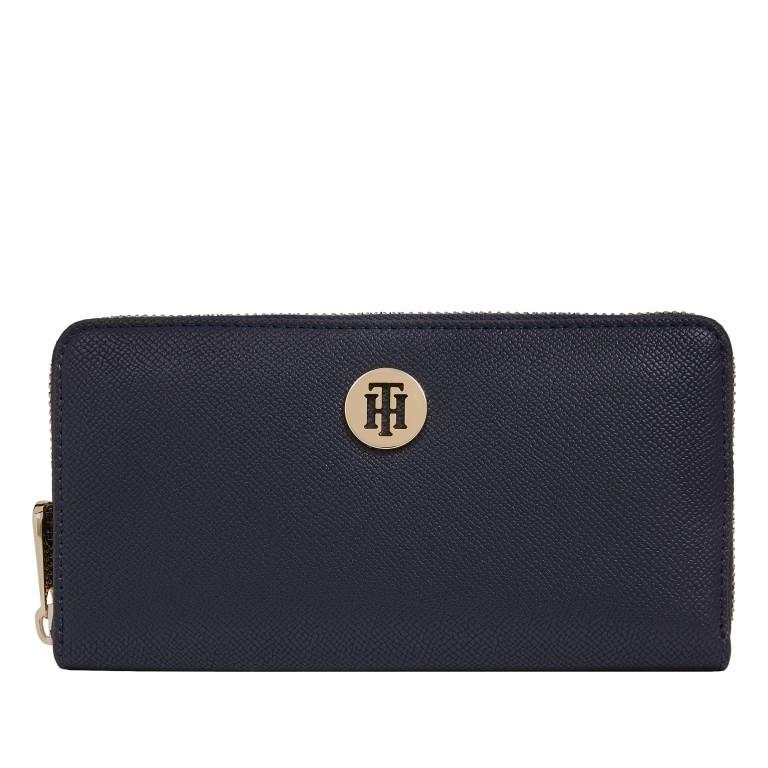 Geldbörse Honey Large Zip Around, Farbe: schwarz, blau/petrol, rot/weinrot, Marke: Tommy Hilfiger, Abmessungen in cm: 19.0x10.0x1.5, Bild 1 von 1