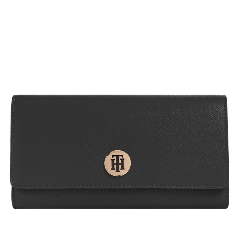 Geldbörse Honey Large Wallet with Flap, Farbe: schwarz, blau/petrol, rot/weinrot, Marke: Tommy Hilfiger, Abmessungen in cm: 19.0x10.0x3.5, Bild 1 von 2