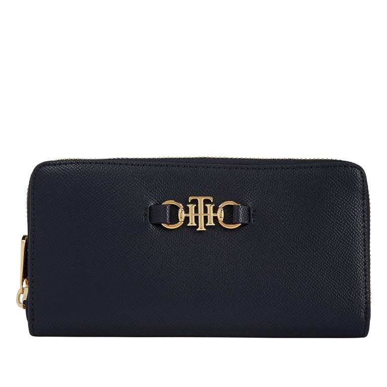 Geldbörse Club Large Zip Around Wallet, Farbe: schwarz, blau/petrol, Marke: Tommy Hilfiger, Abmessungen in cm: 19.0x10.0x2.0, Bild 1 von 2