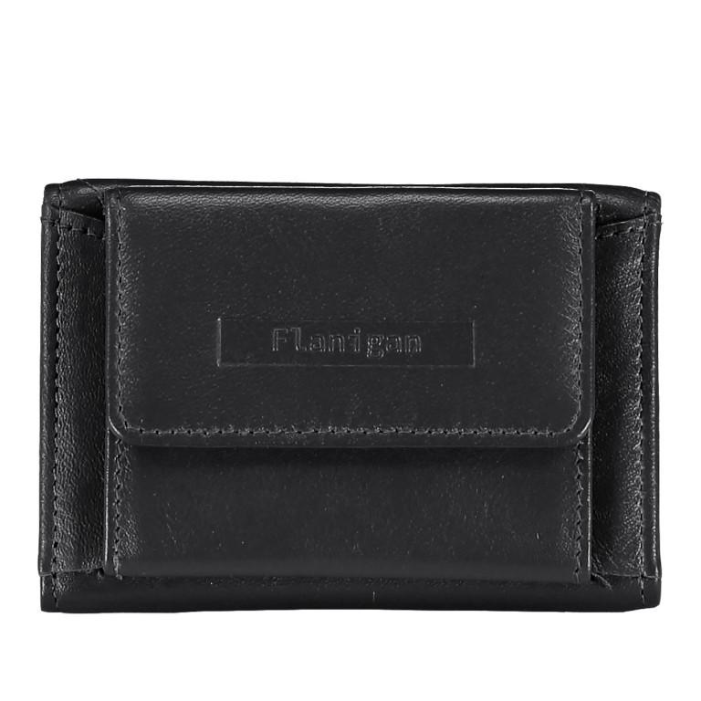 Geldbörse Alba 005, Farbe: schwarz, rot/weinrot, Marke: Flanigan, Abmessungen in cm: 10.0x6.0x1.0, Bild 1 von 1