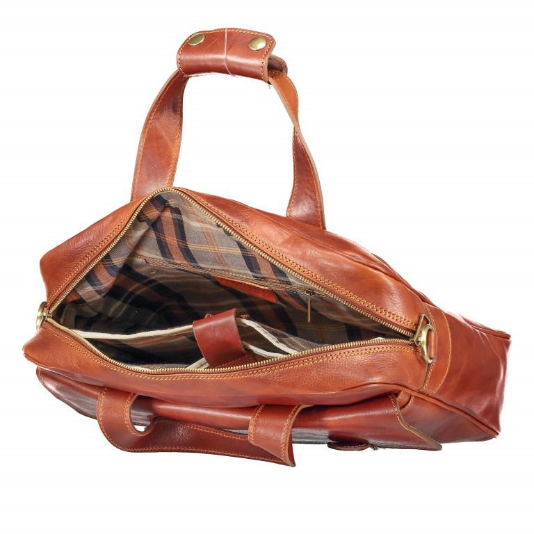 Aktentasche mit zwei Vortaschen Cognac, Farbe: cognac, Marke: Hausfelder, EAN: 4065646000483, Abmessungen in cm: 39.0x30.0x10.0, Bild 8 von 11
