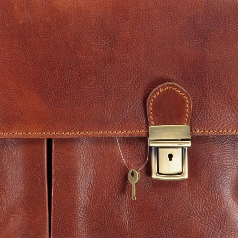 Aktentasche mit zwei Vortaschen Cognac, Farbe: cognac, Marke: Hausfelder, EAN: 4065646000483, Abmessungen in cm: 39.0x30.0x10.0, Bild 11 von 11