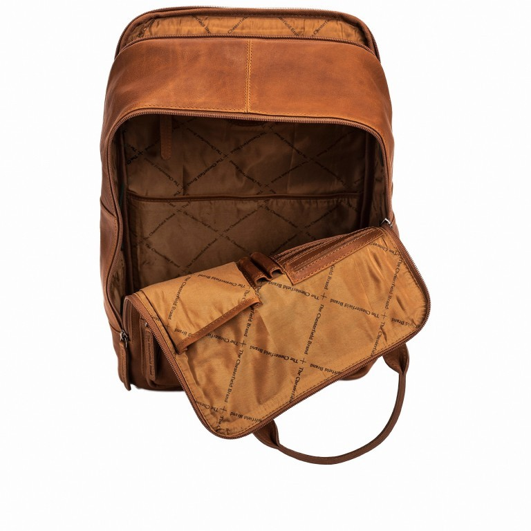 Rucksack Belford Laptopfach 15,4 Zoll Cognac, Farbe: cognac, Marke: The Chesterfield Brand, EAN: 8719241039114, Abmessungen in cm: 26.0x40.0x16.0, Bild 3 von 5