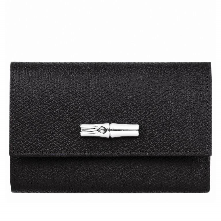Geldbörse Roseau HPN-3253 Schwarz, Farbe: schwarz, Marke: Longchamp, EAN: 3597921844068, Abmessungen in cm: 14.0x10.0x4.0, Bild 1 von 1
