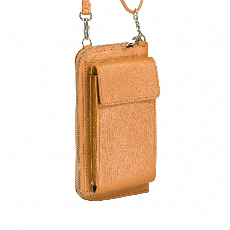 Handytasche Dollaro mit Schulterriemen Cognac, Farbe: cognac, Marke: Hausfelder, EAN: 4065646002081, Abmessungen in cm: 11.0x20.0x4.5, Bild 2 von 6
