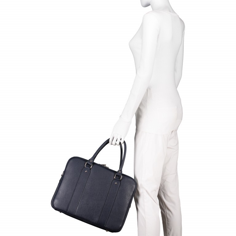 Aktentasche für Damen Dunkelblau, Farbe: blau/petrol, Marke: Hausfelder, EAN: 4065646001596, Abmessungen in cm: 36.0x28.0x13.0, Bild 6 von 11