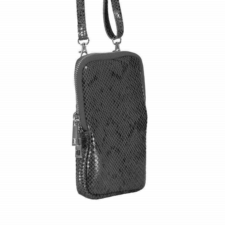 Handytasche Snake mit Schulterriemen Dunkelgrau, Farbe: grau, Marke: Hausfelder, EAN: 4065646002265, Abmessungen in cm: 11.0x17.5x2.0, Bild 2 von 6