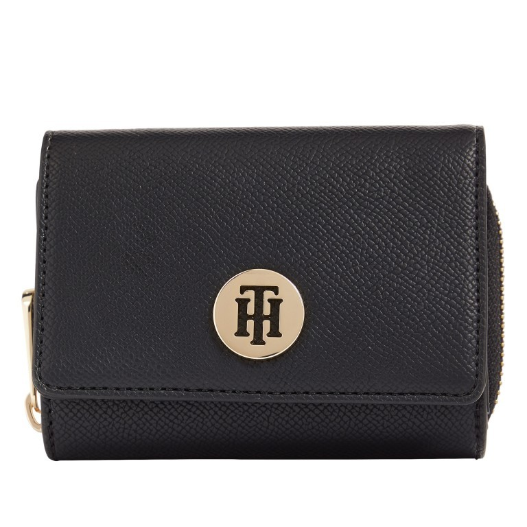 Geldbörse Honey Medium Wallet Black, Farbe: schwarz, Marke: Tommy Hilfiger, EAN: 8720113702722, Abmessungen in cm: 11.4x8.7x4.3, Bild 1 von 2