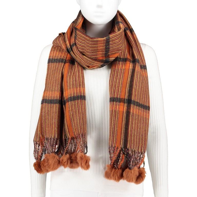 Schal Karo mit Kunstfellbommeln Orange, Farbe: orange, Marke: Hausfelder, EAN: 4065646001671, Bild 1 von 2