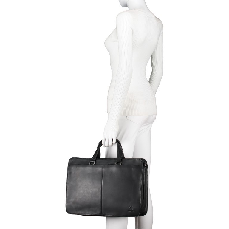 Aktentasche Bakerloo Briefbag MHZ Black, Farbe: schwarz, Marke: Strellson, EAN: 4053533851522, Abmessungen in cm: 39.0x28.0x13.0, Bild 4 von 11