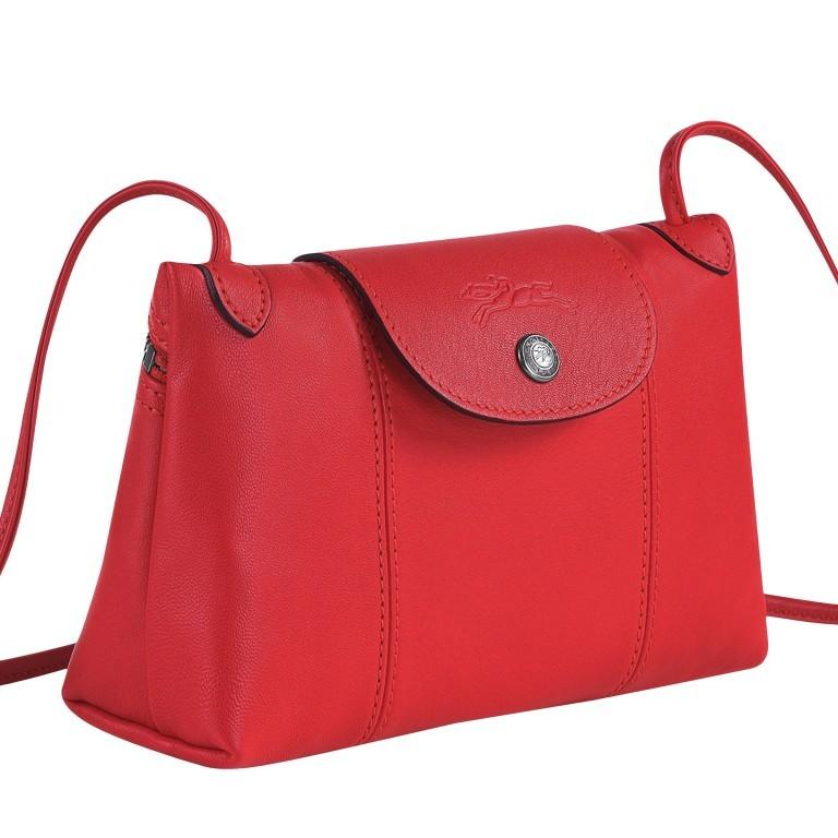 Umhängetasche Le Pliage Cuir Umhängetasche 757-1061 Rot, Farbe: rot/weinrot, Marke: Longchamp, EAN: 3597921823506, Abmessungen in cm: 22.0x14.0x7.0, Bild 2 von 8