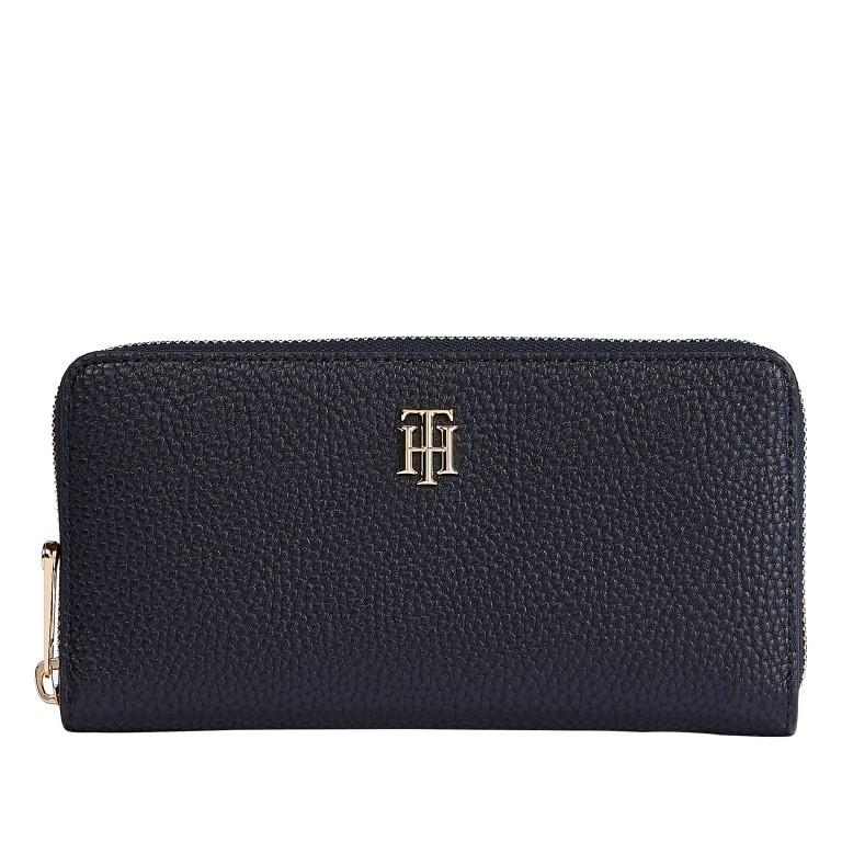 Geldbörse Soft Large Zip Wallet Blue, Farbe: blau/petrol, Marke: Tommy Hilfiger, EAN: 8720114660779, Abmessungen in cm: 19.0x10.0x2.0, Bild 1 von 2