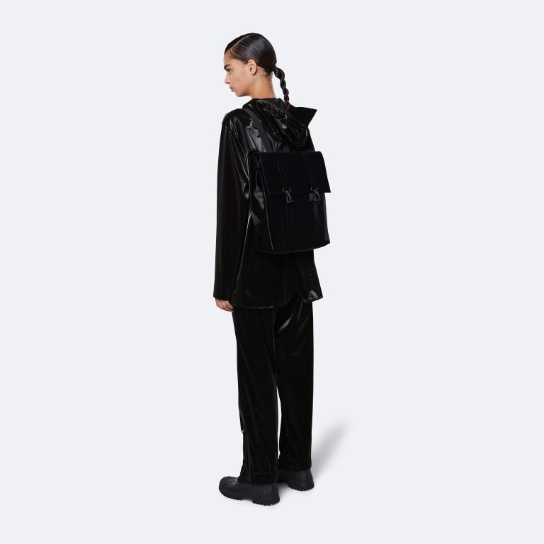 Rucksack MSN Mini Velvet Black, Farbe: schwarz, Marke: Rains, EAN: 5711747479121, Abmessungen in cm: 30.5x34.5x12.0, Bild 3 von 5