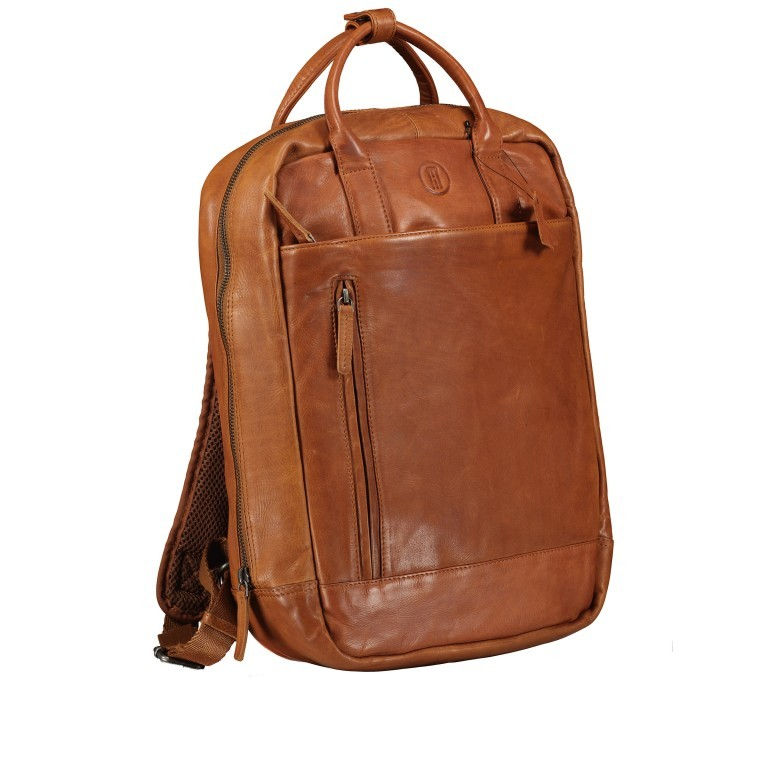 Rucksack mit Laptopfach 13 Zoll Cognac, Farbe: cognac, Marke: Hausfelder, EAN: 4065646004986, Abmessungen in cm: 27.5x37.0x10.0, Bild 2 von 8