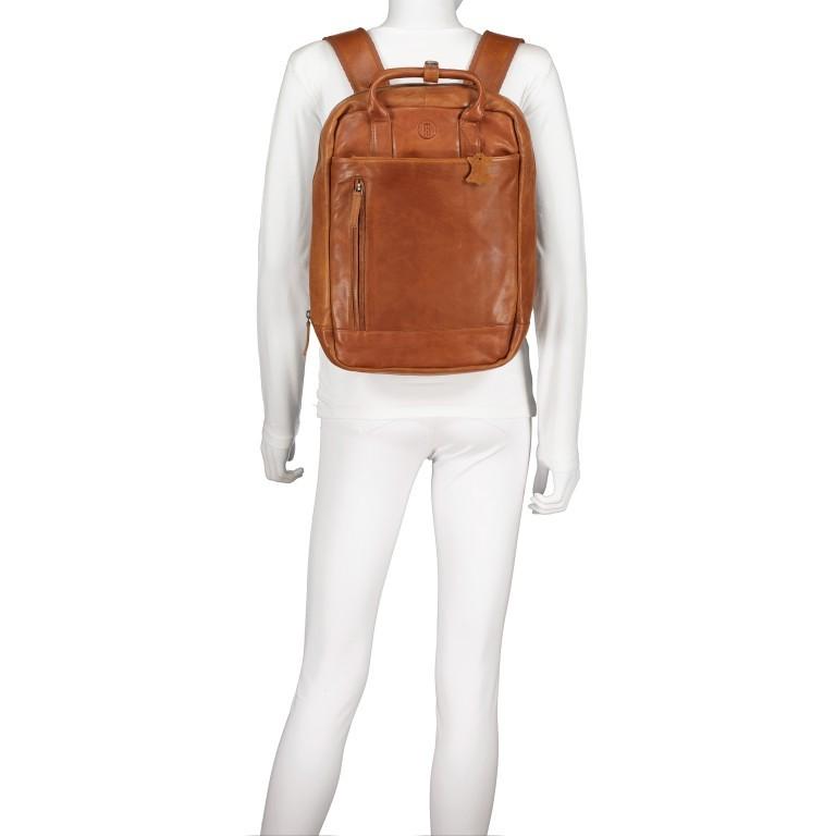 Rucksack mit Laptopfach 13 Zoll Cognac, Farbe: cognac, Marke: Hausfelder, EAN: 4065646004986, Abmessungen in cm: 27.5x37.0x10.0, Bild 6 von 8