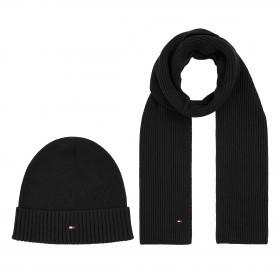 Mütze und Schal Pima Cotton zweiteiliges Geschenkset  Black