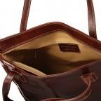 Shopper Toscana, Farbe: blau/petrol, braun, cognac, rot/weinrot, Marke: Hausfelder, Bild 5 von 6